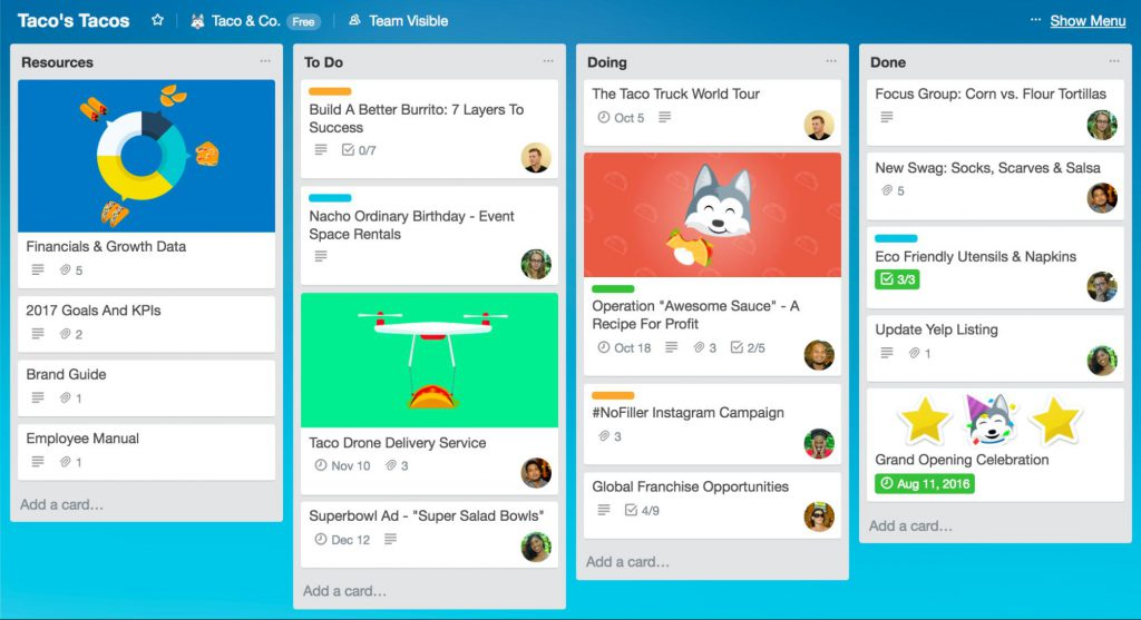 remote work Trello tool for project management to help managers manage effectively