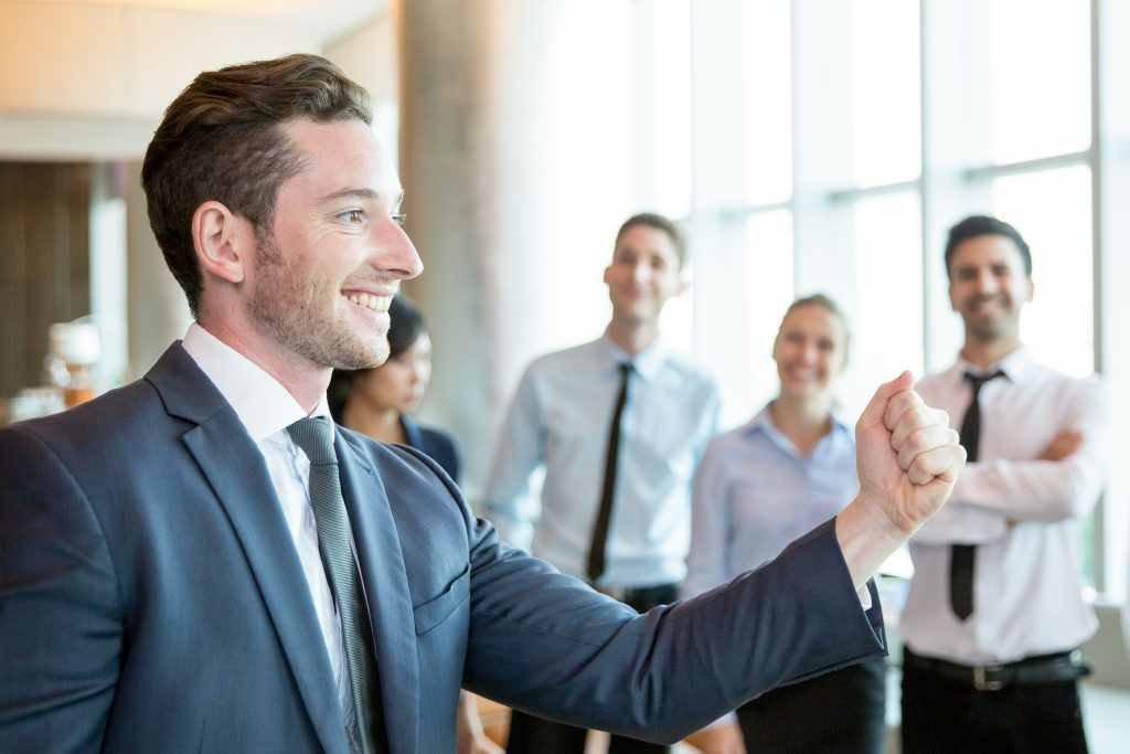 Leader motivating employees