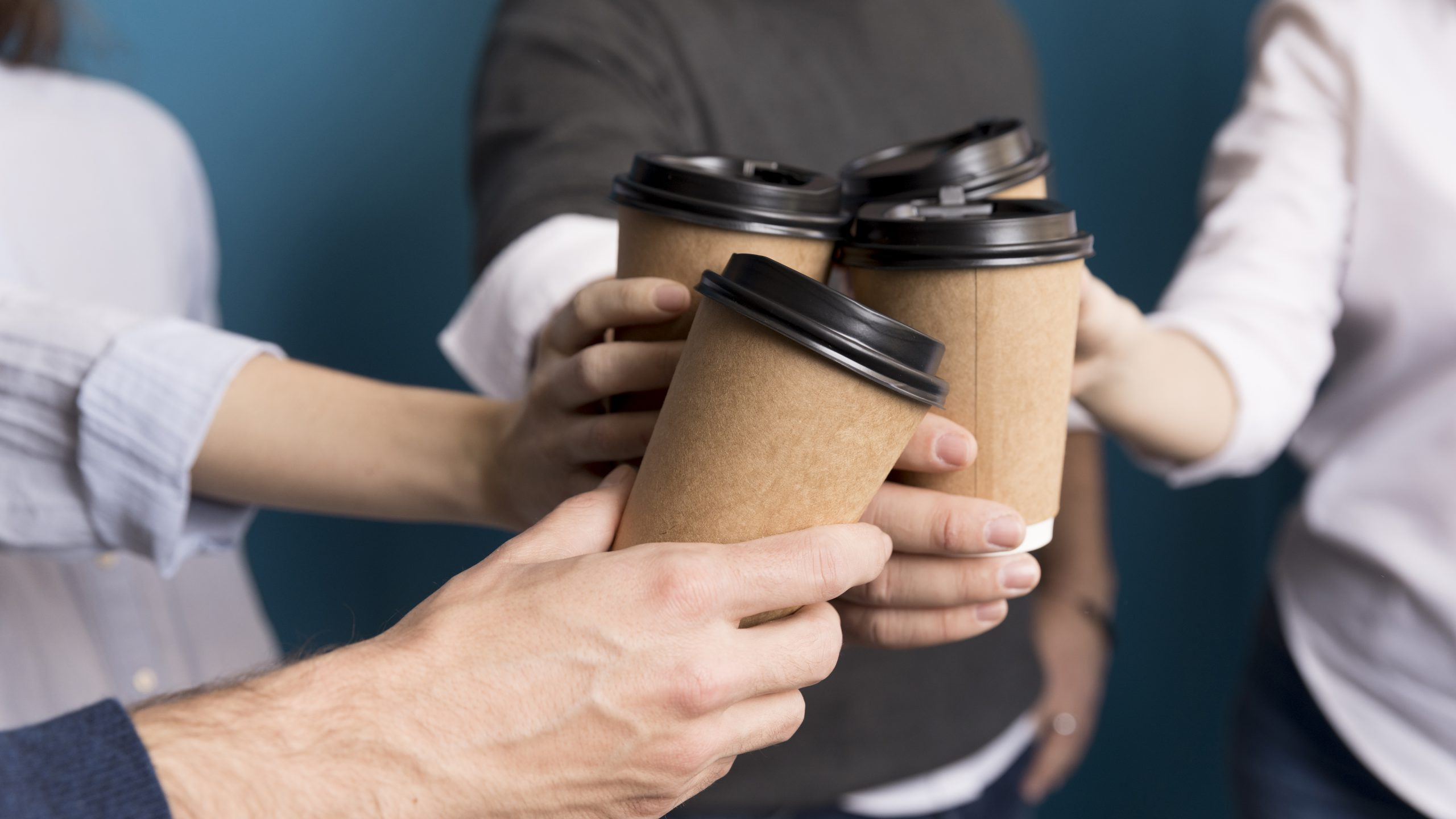 colleagues having coffee