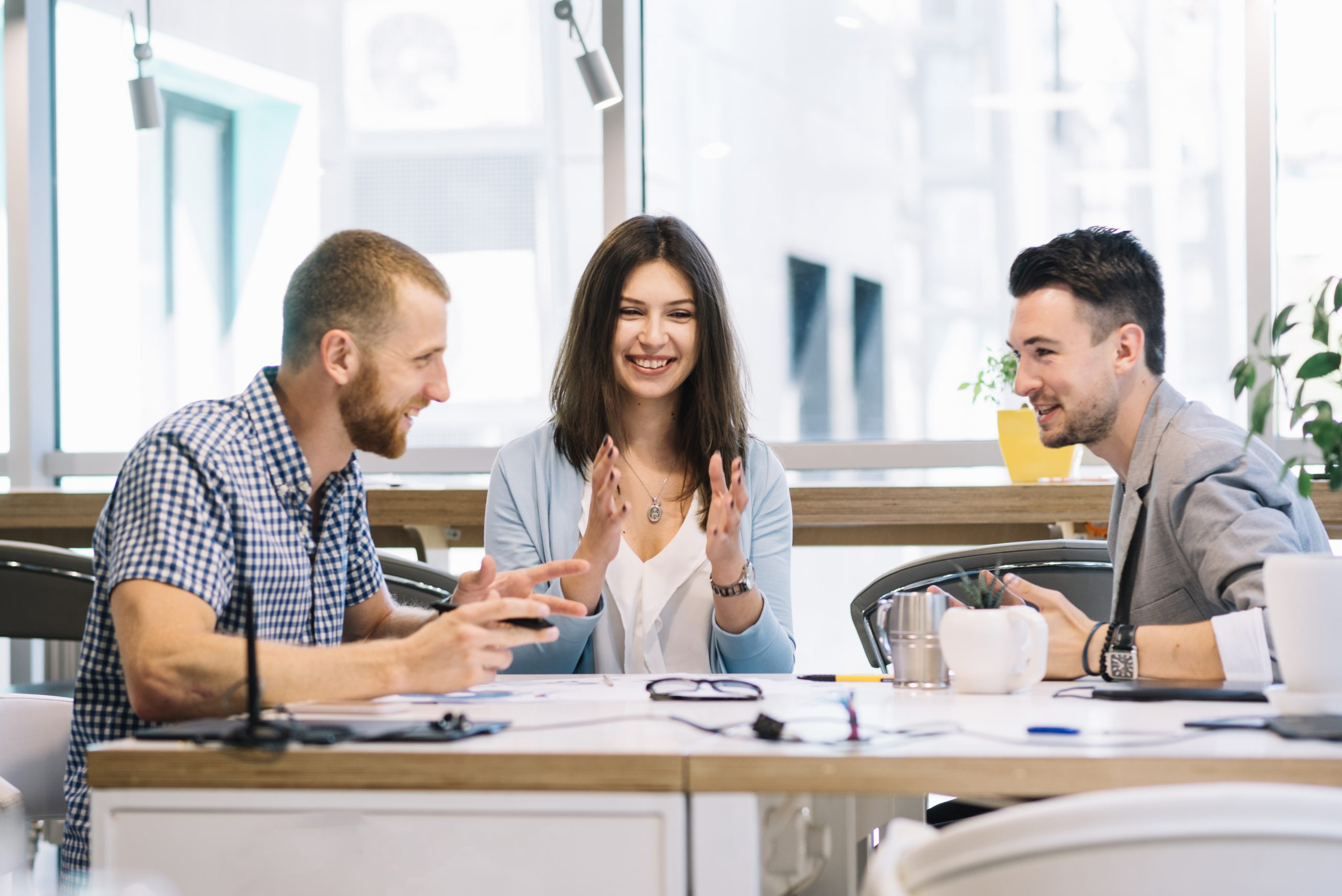 discussing with employees